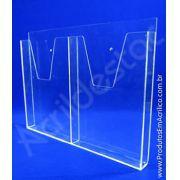 Display acrilico Porta Folhetos Bolso A4 30x21 Duplo para parede, revistas, folhetos, folders