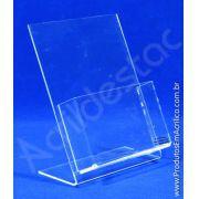 Display porta folheto com bolso em acrilico transparente mesa balcão A6 15x10cm