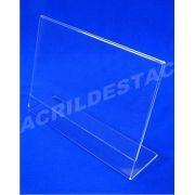 Display em L de acrilico para mesa e balcão expositor de folders A3 30x42 Horizontal