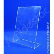Display de acrilico para mesa e balcão formato L A4 30x21 Vertical