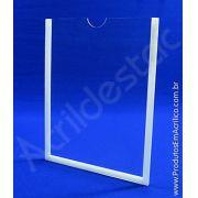 Display de acrilico Cristal Porta Folheto de parede com moldura A5 Vertical