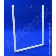 Display de acrilico Cristal Porta Folha para Parede ou Elevador com moldura A4 Vertical