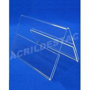 Display de acrilico Prisma identificador de mesa A5 15 x 21 dupla face