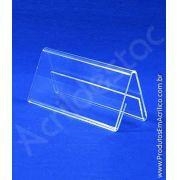 Display de acrilico Prisma identificador de mesa 5 x 12 dupla face