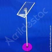 Pedestal Porta Cardapio de chão Acrilico para Folheto A3 42x30 Vertical