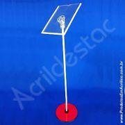Porta Folheto Pedestal Acrilico de chão para Cardapio e Panfleto A4 30x21 Vertical