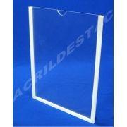 Display de PS Cristal acrilico similar para parede com moldura Bolso Folha A3 Vertical