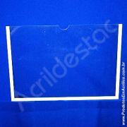 Display de PS Cristal acrilico similar Porta Folha para Parede ou Elevador com moldura A4 Horizontal