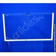 Display de PS Cristal acrilico similar Porta Folheto de parede DUPLO Com Fundo A5 Horizontal