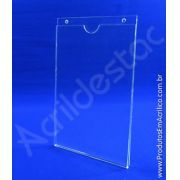 Display de PS Cristal acrilico similar Porta Folheto de parede modelo U Duplo A1 84x59,4 Vertical