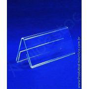 Display de PS Cristal acrilico similar Prisma de mesa e precificador 5,5 x 6 dupla face