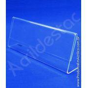 Display PS Cristal Acrilico similar expositor de cargos nomes e menus 8x21,5cm