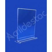 Display T de mesa e balcão PS Cristal acrilico similar A5 21x15 Vertical em Promoção