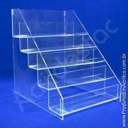 Expositor em Acrilico Escada 5 Degraus para Produtos Acessorios Celular Salão de Beleza Papelaria Farmacia Lojas