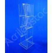 Expositor Revisteiro de Acrilico 6 Bandejas para Folders e Catalogos 120cm Alt