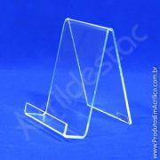 Porta Livro PS Cristal - acrilico similar - Indiv com Aba - 14 x 10 cm