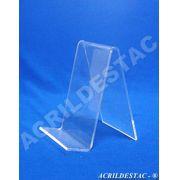 Porta Livro PS cristal acrilico similar individ 13 x 9 cm  - Livrarias Vitrines Papelarias Lojas