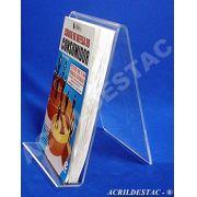 Porta Livro display PS cristal acrilico similar 21 x 14 cm individ - Livrarias Lojas Papelarias Vitrines