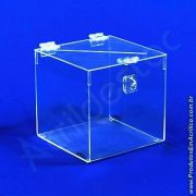 Urna de PS Cristal Quadrada similar ao acrilico Cubo 25x25cm sorteio e promoção