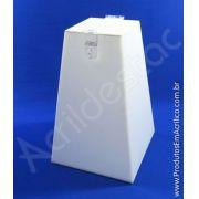 Urna em PS Branca Piramide similar ao Acrilico 20cm alt CIPA e Adesivo Personalizada