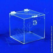 Urna de PS Cristal Quadrada similar ao acrilico Cubo 15x15cm sorteio e doações