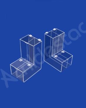 Baleiro de acrilico cristal duplo 30cm Alt com divisoria para chás grãos e produtos naturais
