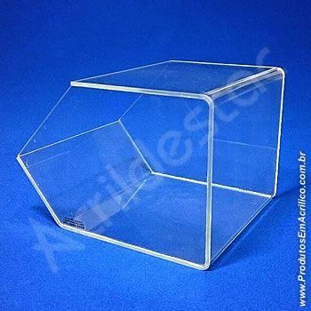 Baleiro de acrilico cristal indiv 15x18x22cm caixa expositora acrilico para quiosques lojas