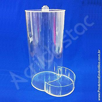 Baleiro de acrilico cristal Tubo efeito gravitacional com Tampa e Dispenser 30 cm
