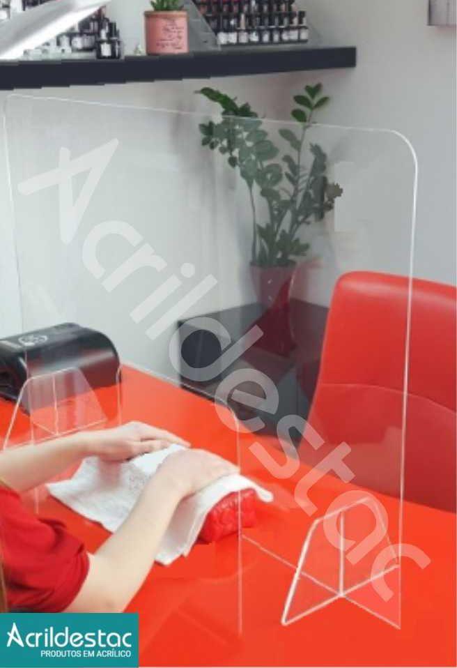Barreira Escudo Protetor de Mesa Manicure PS Acrílico similar 50x50 cm