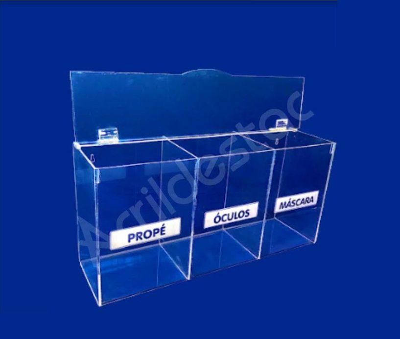 Caixa Acrilico para EPI 22x45cm Tripla com divisorias e janela de abertura frontal - Caixa Porta EPIs