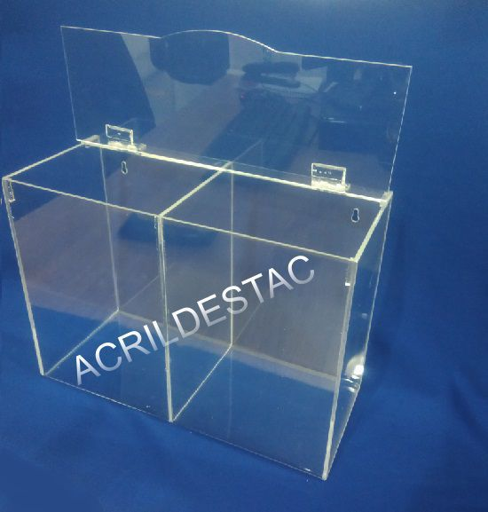 Caixa de EPI Acrilico 22x30cm Dupla com divisoria - caixa transparente para EPIs