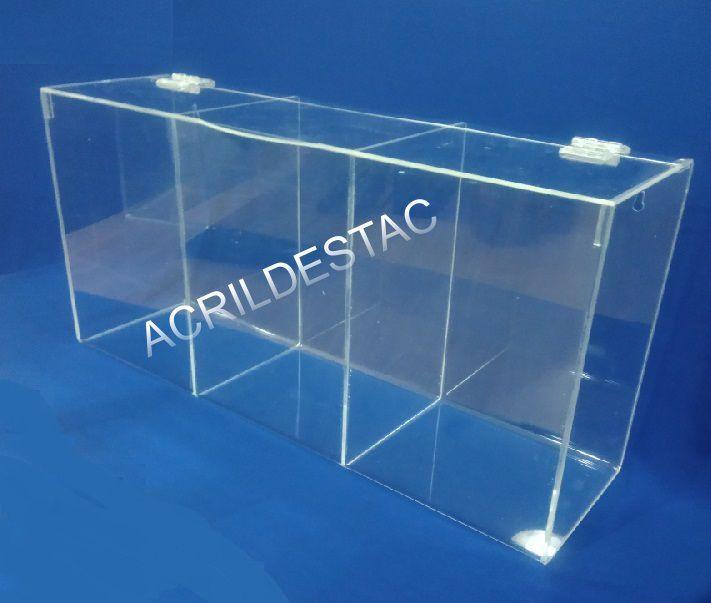 Caixa Acrilico para EPI 22x45cm Tripla com divisorias - Caixa Porta EPIs