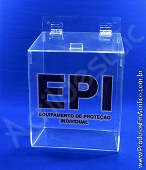 Caixa Acrilico cristal 24,5cm Alt para EPI Equipamento de Proteção Individual