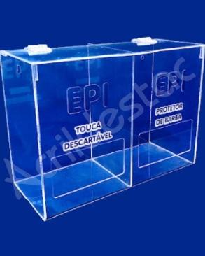 Caixa de EPI Acrilico 22x30cm Dupla com divisoria - caixa transparente com abertura frontal para EPIs