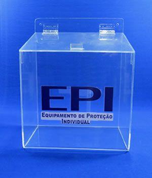 Caixa de EPI Acrilico 34,5cm Alt Porta EPI em acrilico transparente