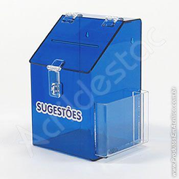 Caixa de Sugestões em Acrilico Azul Cobalto 25cm Urna de Sugestão para condominios