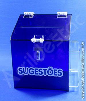 Caixa de Sugestões em Acrílico Azul 20cm para pesquisas e sorteios