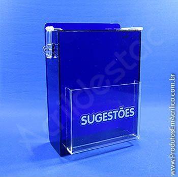 Caixas de Sugestões em Acrilico Azul 20cm caixa com tampa