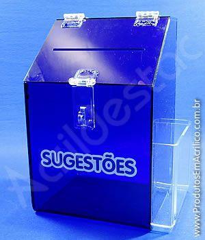 Caixa de Sugestões em Acrilico Azul 25cm Urna de Sugestão para parede