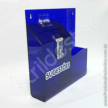 Caixa de Sugestões em Acrilico Azul Bic 24,5cm Urna para parede
