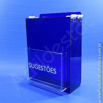 Caixa de Sugestões em Acrílico Azul 24cm urna para sugestão