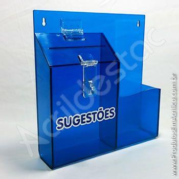 Caixa de Sugestões em Acrilico Azul Cobalto 24,5cm Urna para sorteio e cupons