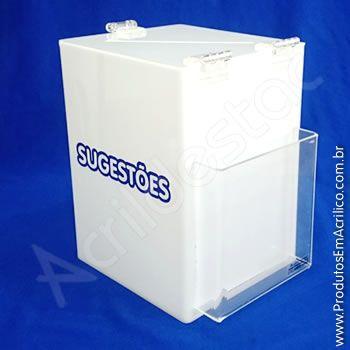 Caixa de Sugestões em Acrilico Branca 20cm urna para pesquisas