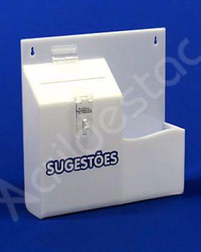 Caixa de Sugestões em Acrilico Branco 24,5cm Urna para sugestões e reclamações