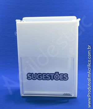 Caixa de Sugestões em Acrílico Branca 24cm caixa personalizada