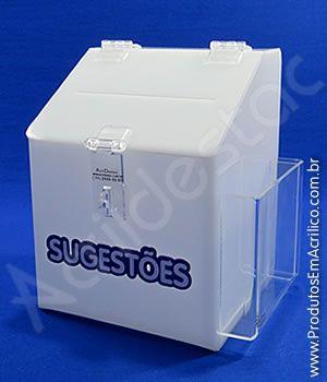 Caixa de Sugestões em acrilico Branco 20cm para notificações e reclamações