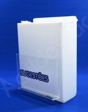 Caixa de Sugestões em Acrilico Branco 20cm para pesquisas de satisfação