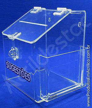 Caixa de Sugestões em Acrílico Cristal 20cm para ações e eventos