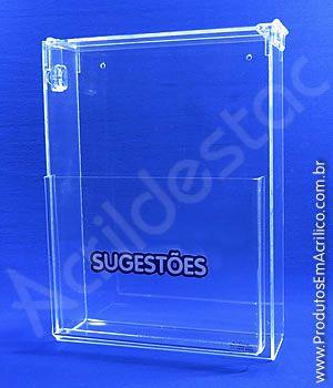 Caixa de Sugestões em Acrilico Cristal 20cm Sugestões e Reclamações