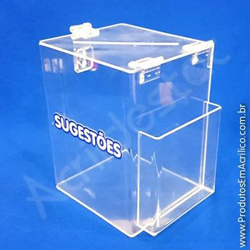 Caixa de Sugestões em Acrilico Cristal 20cm caixa retangular